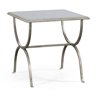 Jonathan Charles Eglomise and Silver Iron Square Side Table