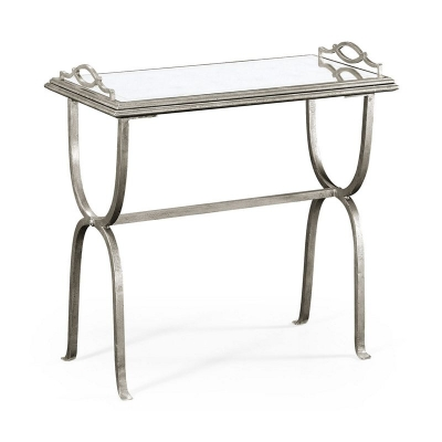 Jonathan Charles Eglomise and Silver Iron Tray Table