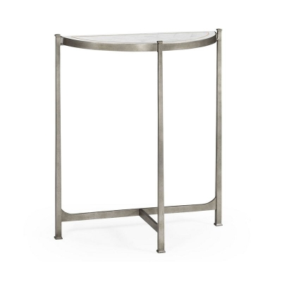 Jonathan Charles Eglomise and Silver Iron Demilune Console Small