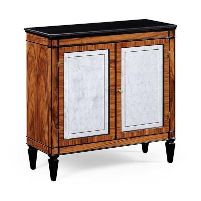 Jonathan Charles Rosewood and Ebonised Marble Topped Side Cabinet with Brass
