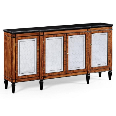 Jonathan Charles Rosewood and Ebonised Marble Topped Breakfront Cabinet with Brass
