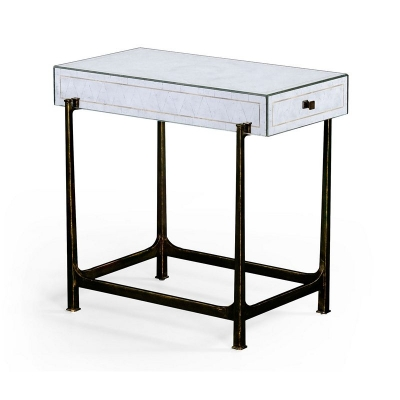 Jonathan Charles Eglomise and Bronze Iron Box Top Side Table