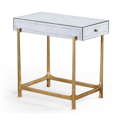 Jonathan Charles Eglomise and Gilded Iron Box Top Side Table