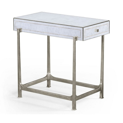 Jonathan Charles Eglomise and Silver Iron Box Top Side Table