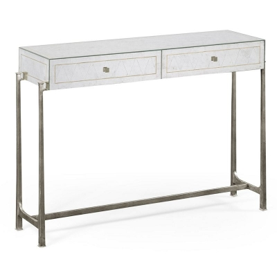Jonathan Charles Eglomise and Silver Iron Box Console