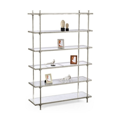 Jonathan Charles Eglomise and Silver Iron Six Tier Etagere