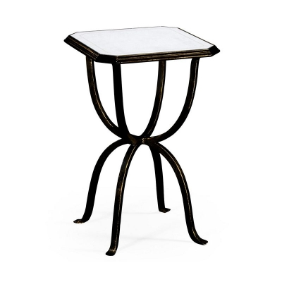Jonathan Charles Eglomise and Bronze Iron Octagonal Side Table