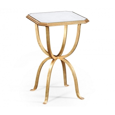 Jonathan Charles Eglomise and Gilded Iron Octagonal Side Table