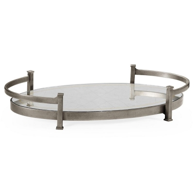 Jonathan Charles Eglomise and Silver Iron Oval Tray