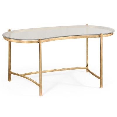 Jonathan Charles Gilded Kidney Desk and Glass Top
