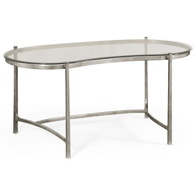 Jonathan Charles Silver Kidney Desk and Glass Top
