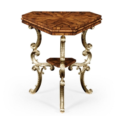Jonathan Charles Argentinian Walnut Triangular Topped Side Table