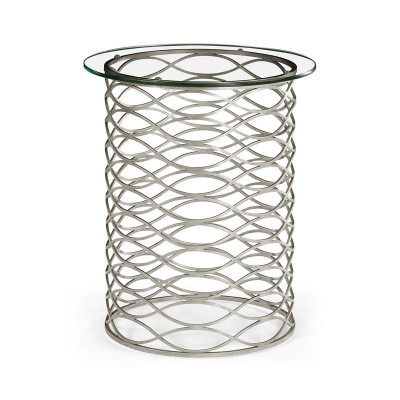 Jonathan Charles Interlaced Silver and Glass Side Table