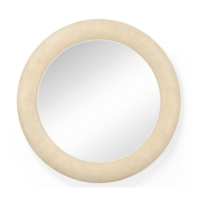 Jonathan Charles Round Wall Mirror with Faux Shagreen and Bone Edging Cream