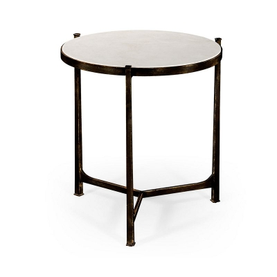 Jonathan Charles Scagliola and Bronze Round Side Table