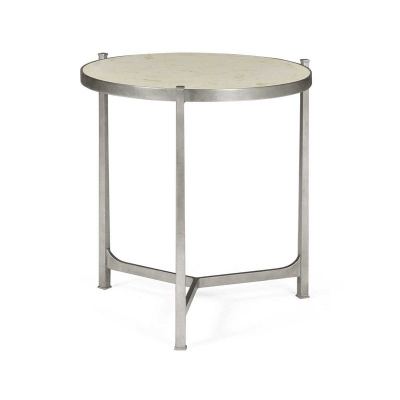 Jonathan Charles Scagliola and Silver Round Side Table