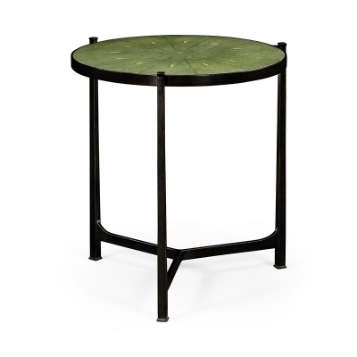Jonathan Charles Green Round Faux Shagreen Bronze Side Table
