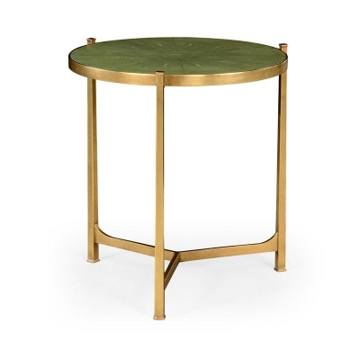 Jonathan Charles Green Round Faux Shagreen Gilded Side Table