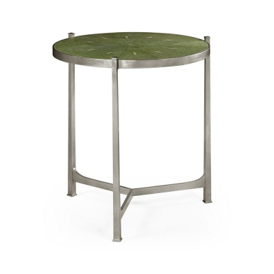 Jonathan Charles Green Round Faux Shagreen Silver Side Table