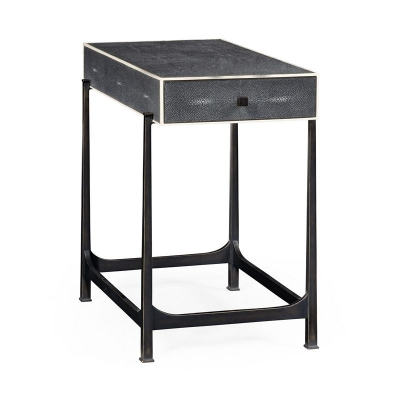 Jonathan Charles Anthracite Faux Shagreen and Bronze Iron Side Table