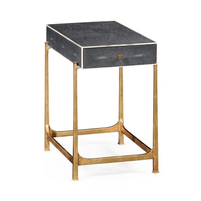 Jonathan Charles Anthracite Faux Shagreen and Gilded Iron Side Table