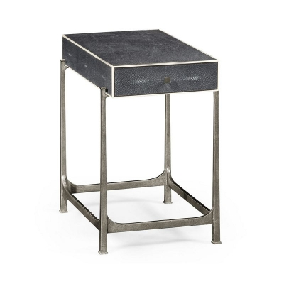 Jonathan Charles Anthracite Faux Shagreen and Silver Iron Side Table