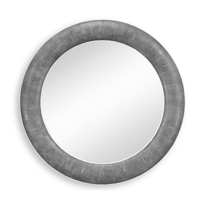Jonathan Charles Round Wall Mirror with Faux Shagreen and Bone Edging Black