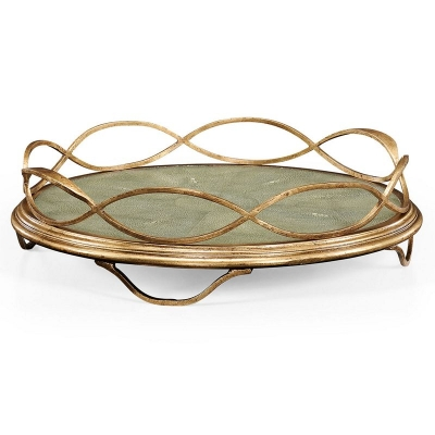 Jonathan Charles Green Faux Shagreen and Gilded Iron Circular Tray