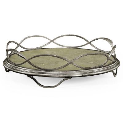 Jonathan Charles Green Faux Shagreen and Silver Iron Circular Tray