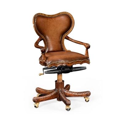 Jonathan Charles Adjustable Kidney Desk Chair Brown Leather Upholstery
