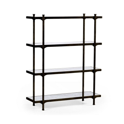 Jonathan Charles Eglomise and Bronze Iron Four Tier Etagere