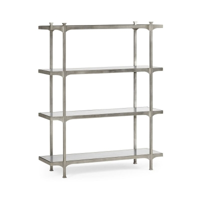 Jonathan Charles Eglomise and Silver Iron Four Tier Etagere