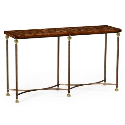 Jonathan Charles Parquetry and Iron Console