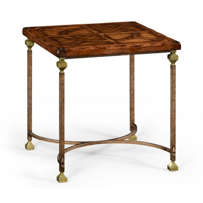 Jonathan Charles Parquetry and Iron Side Table