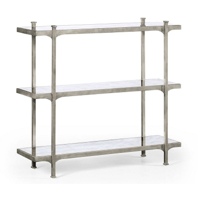 Jonathan Charles Eglomise and Silver Iron Three Tier Etagere