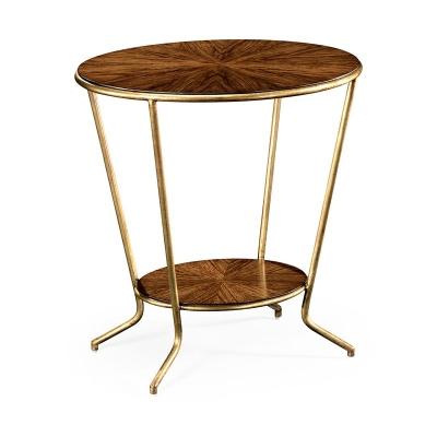 Jonathan Charles Argentinian Walnut Veneered Oval Side Table