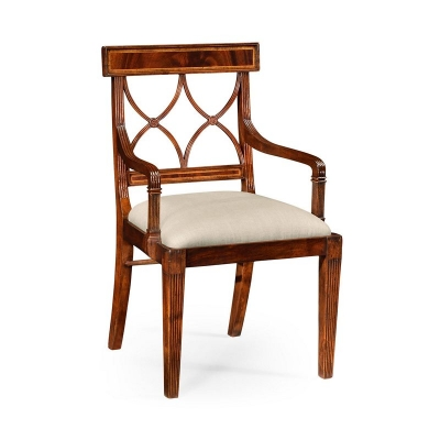 Jonathan Charles Regency Mahogany Curved Back Chair Arm