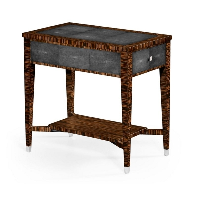 Jonathan Charles Faux Macassar Ebony and Anthracite Shagreen Side Table
