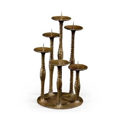 Jonathan Charles Textured Brass Six Branch Candlestick