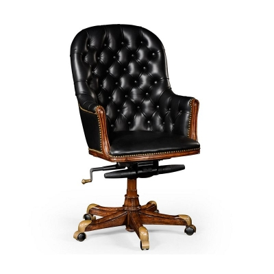 Jonathan Charles Buttoned Black Leather Desk Chair High Back