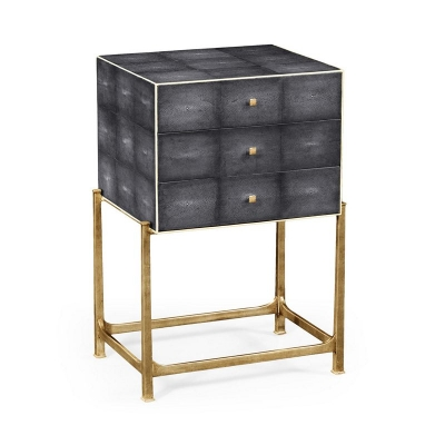 Jonathan Charles Faux Anthracite Shagreen High Chest with Gilded Base