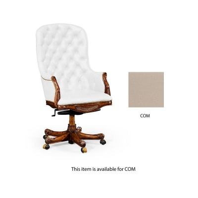 Jonathan Charles Buttoned Custom Fabric Desk Chair High Back COM