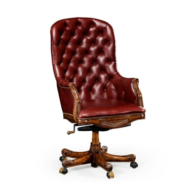 Jonathan Charles Buttoned Red Leather Desk Chair High Back