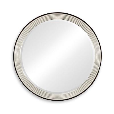 Jonathan Charles Contemporary Circular Recessed Silver Mirror