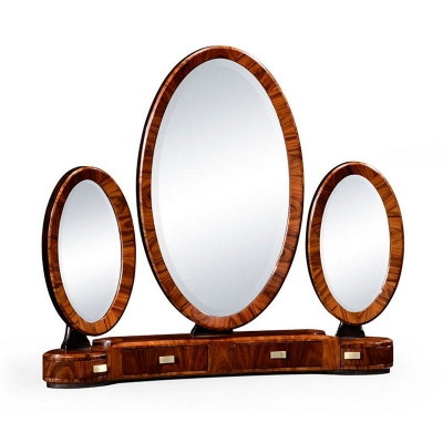 Jonathan Charles Art Deco Style Triple Dressing Mirror with Brass