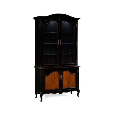 Jonathan Charles French Country Style Black Finish Display Cabinet