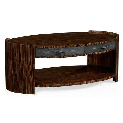 Jonathan Charles Anthracite Faux Shagreen and Macassar Ebony Oval Coffee Table