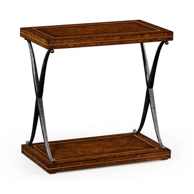Jonathan Charles Hammered Iron Two Tier Table