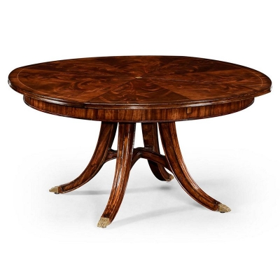 Jonathan Charles 59 inch Mahogany Circular Dining Table with Self Storing Leaves