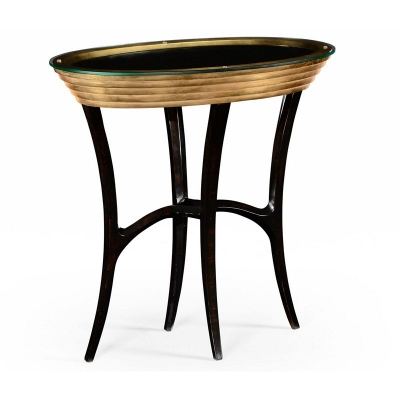 Jonathan Charles Stepped Gilded Oval Side Table